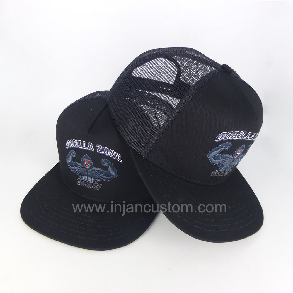Custom Flat Bill Trucker Hats with Embroidery 5 Panels Style