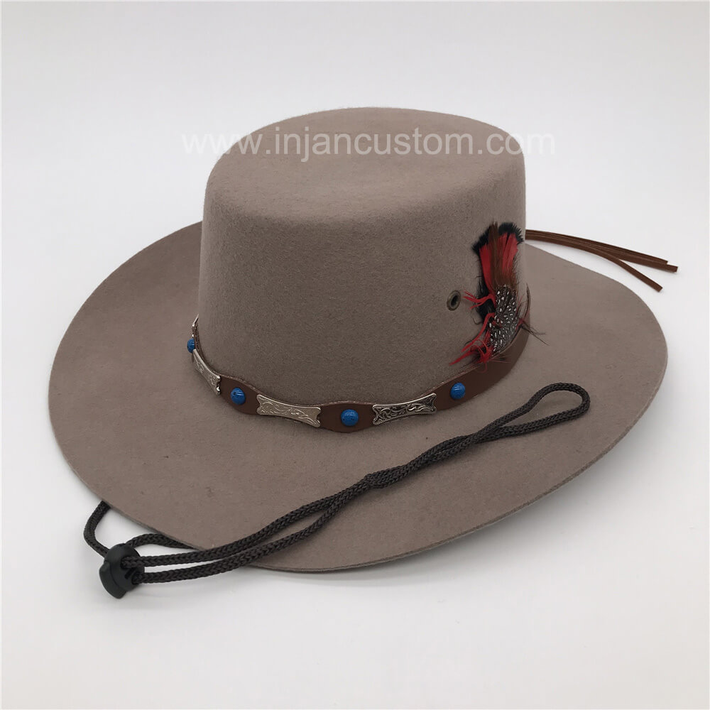 2d9f32cb89e15 Custom Fedora Hat with Feather Leather Ribbon and Rope