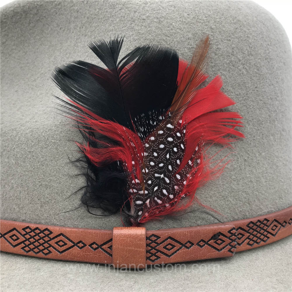 60d508e14902e Custom Fedora Hat with Leather Ribbon and Feather