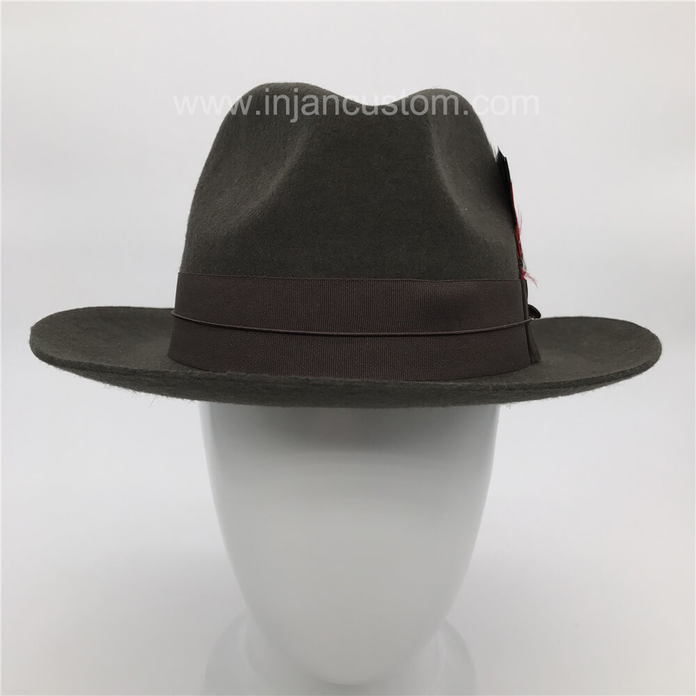 Custom Vintage Fedora Hats with Ribbon Feather and Printing