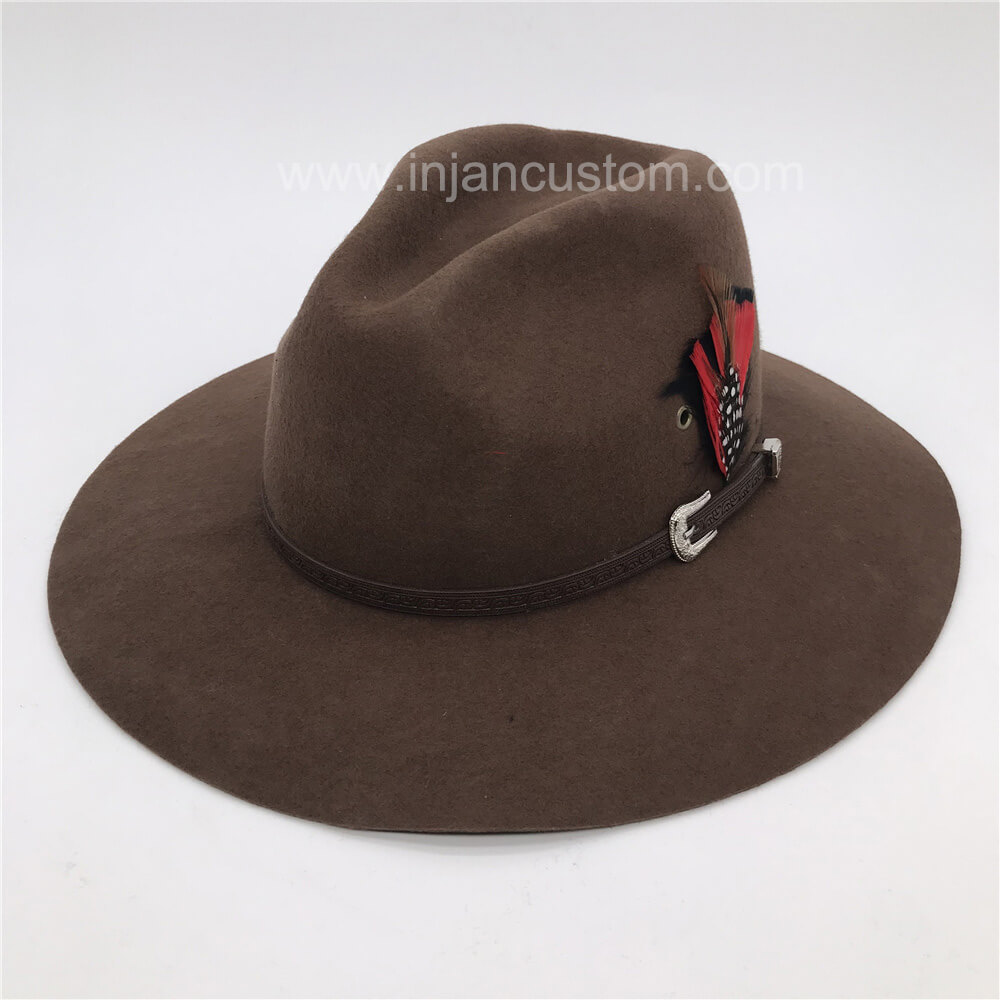 9e761c5c3d2c4 Fedora Hats for Women with Leather Ribbon and Feather